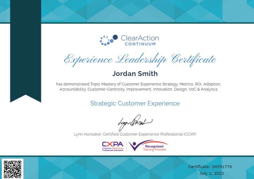Customer Experience Certificate