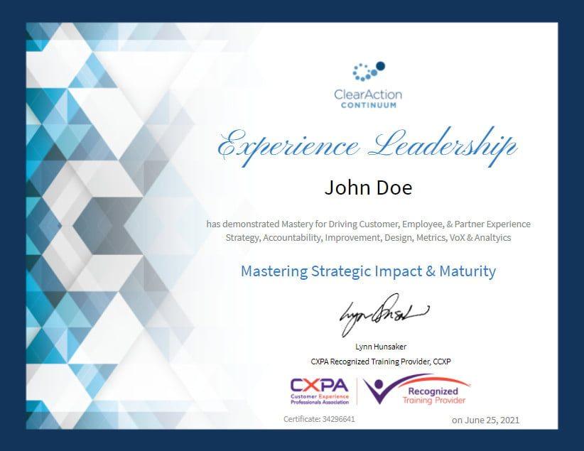 Experience Leadership Certificate