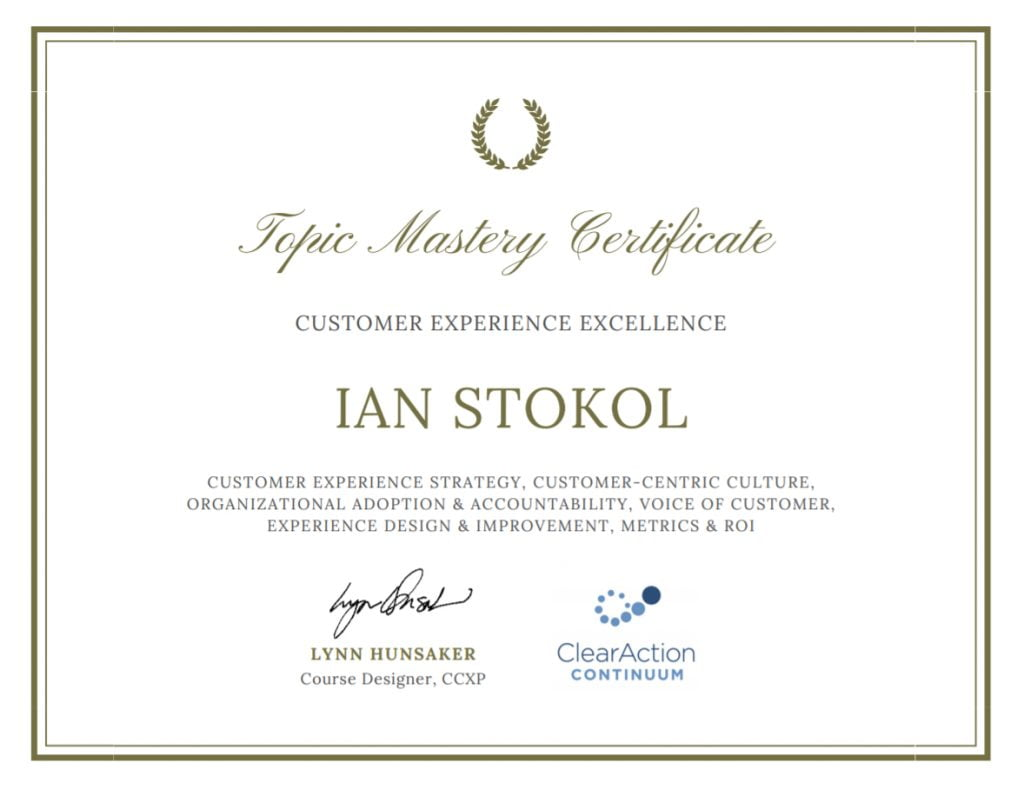 Customer Experience Certificate